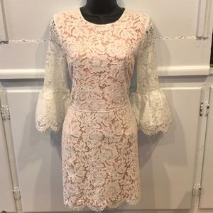 English Factory White Lace Bell-Sleeve Dress SZ S